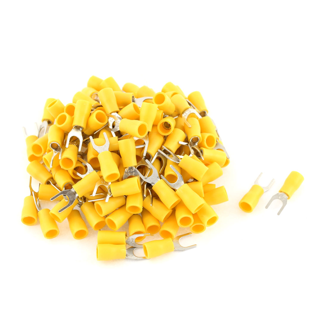 135Pcs SV2-4 Fork Type Yellow Insulated Spade Cable Terminals 16-14AWG