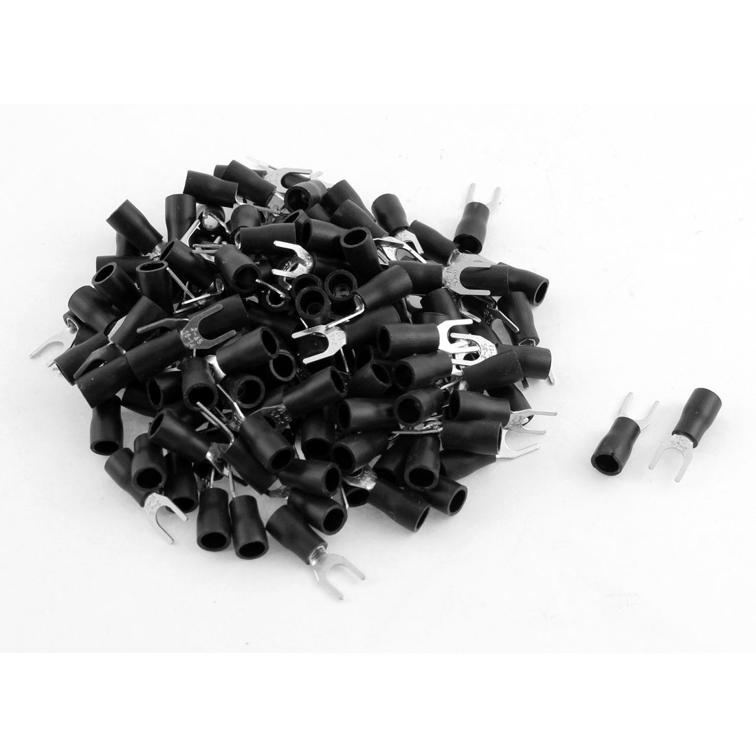 135Pcs SV2-4 Fork Type Black Insulated Spade Cable Terminals 16-14AWG