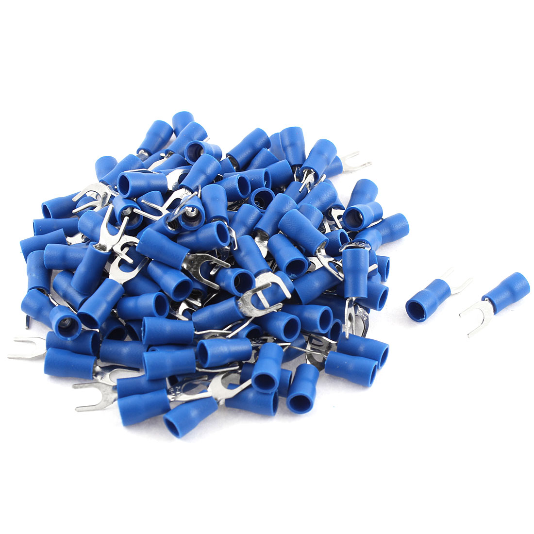 135Pcs SV2-4 Fork Type Blue Insulated Spade Cable Terminals 16-14AWG