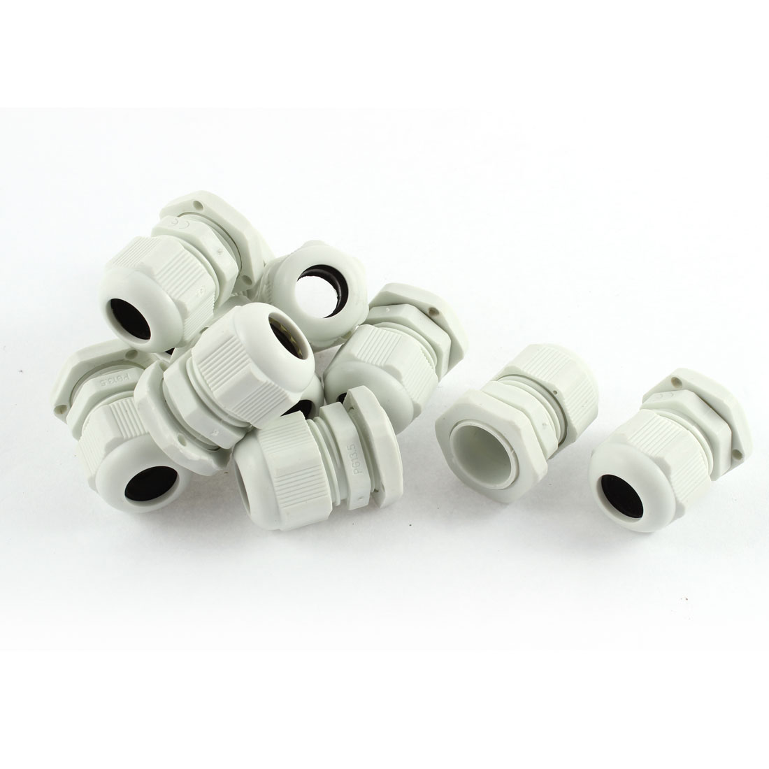 White Plastic PG13.5 6-12mm Wire Connector Waterproof Cable Gland 10pcs