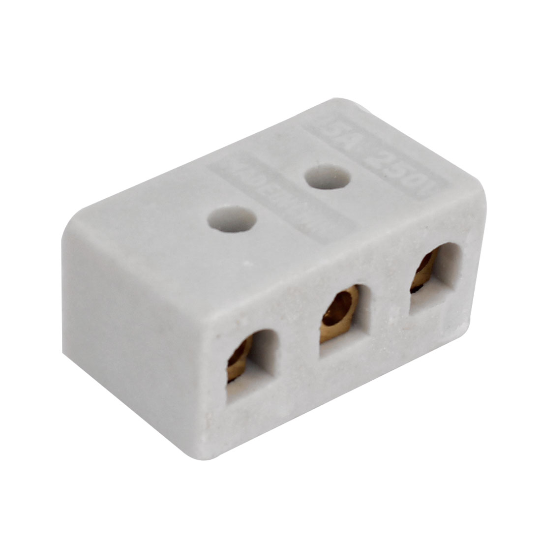 250V 15A 3W8H 3 Way 8 Hole Ceramic Connector Porcelain Terminal Block White