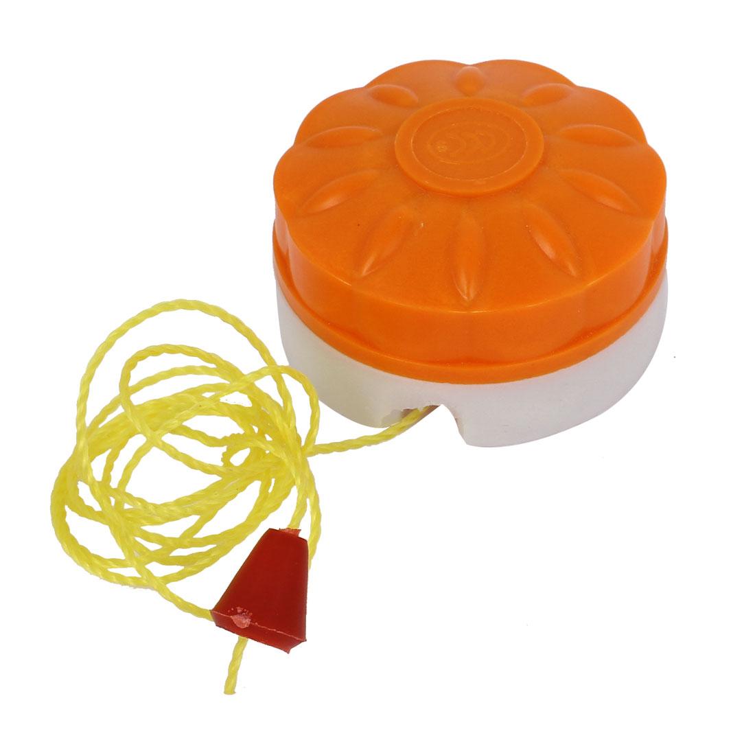 AC250V 6A Round Style Bathroom Fan String Light Lamp Pull Cord Switch Orange