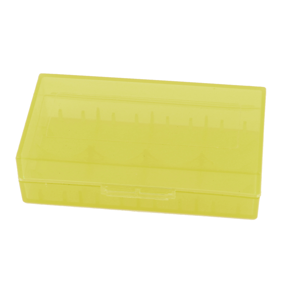 Hard Plastic Case Holder Storage Box Yellow for 18650 16430 CR123A Battery