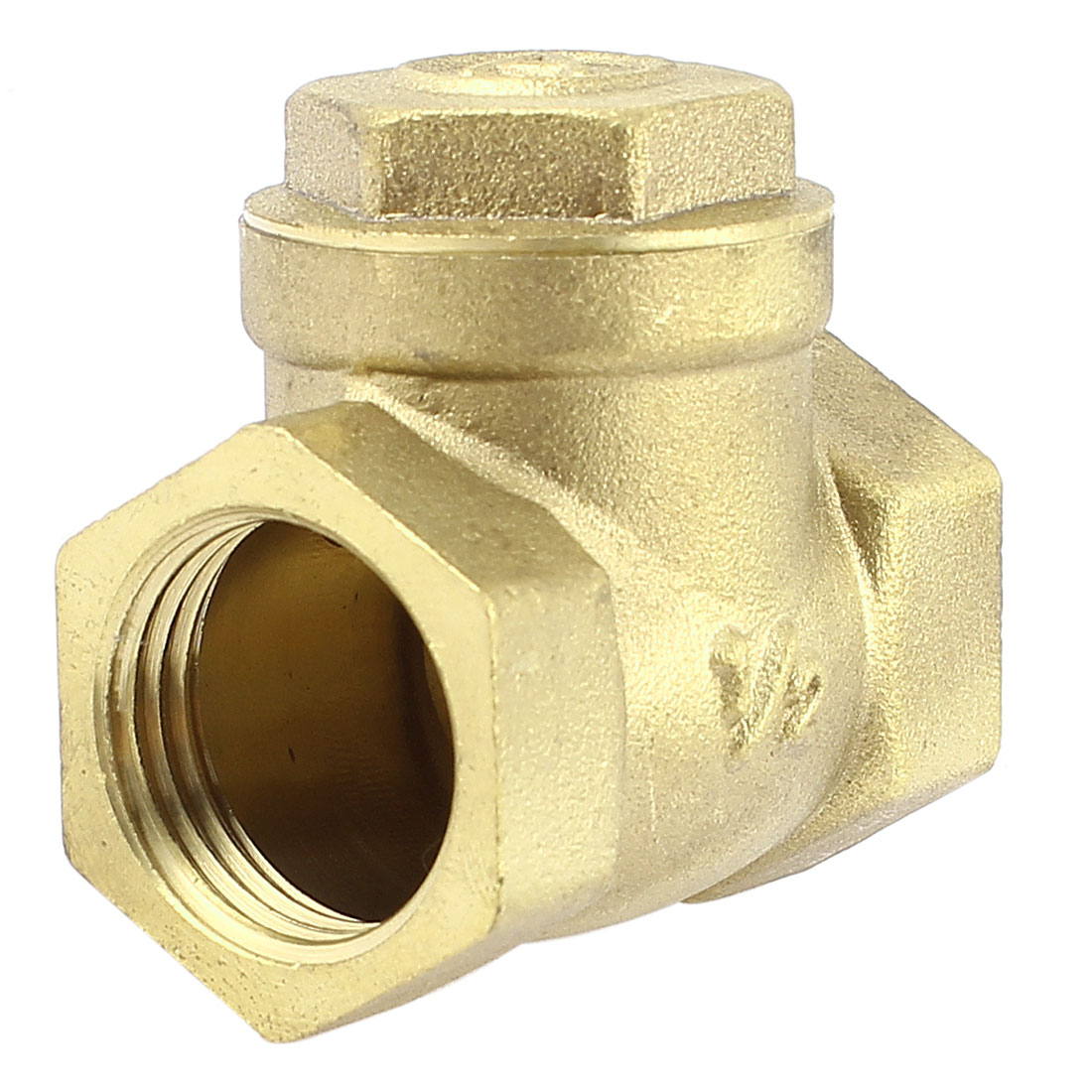 Water Pipe 1/2 BSP One Way Horizontal Type Check Valve Fitting Brass Tone