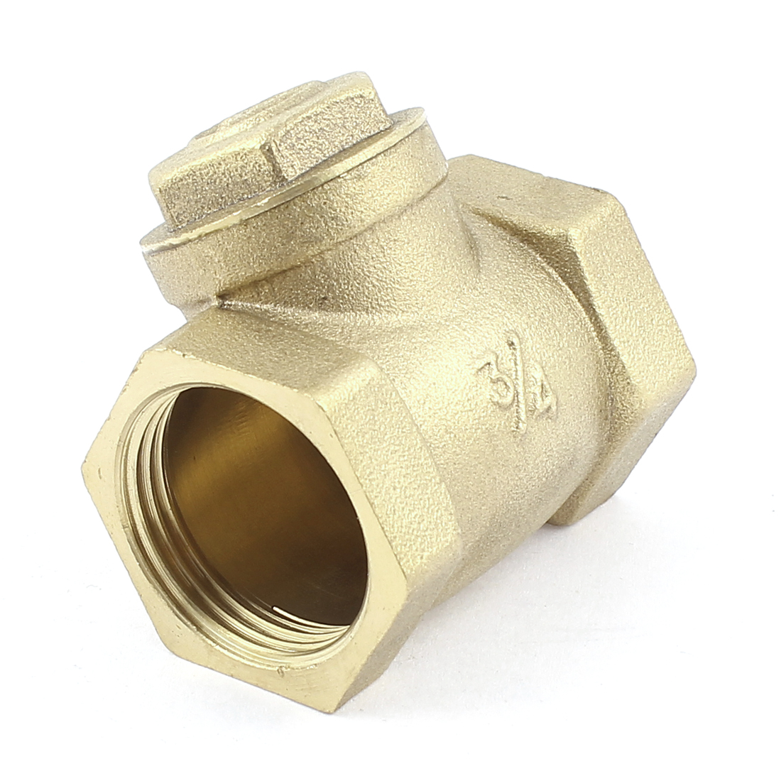 Water Pipe One Way Horizontal Type Check Valve Fitting Brass Tone
