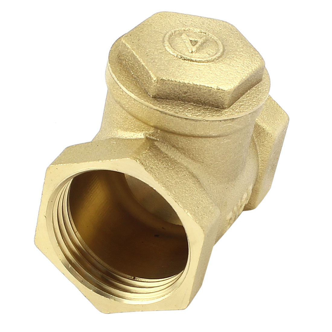 Water Pipe 1 BSP One Way Horizontal Type Check Valve Fitting Brass Tone