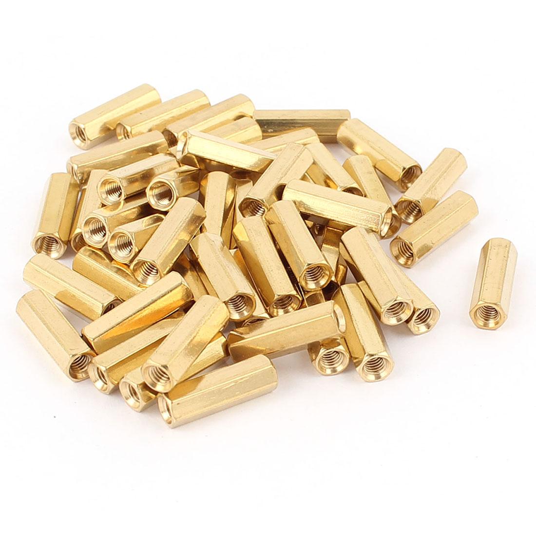 46Pcs M3 x 15mm Female/Female Thread Brass Hex Standoff PCB Pillar Spacer