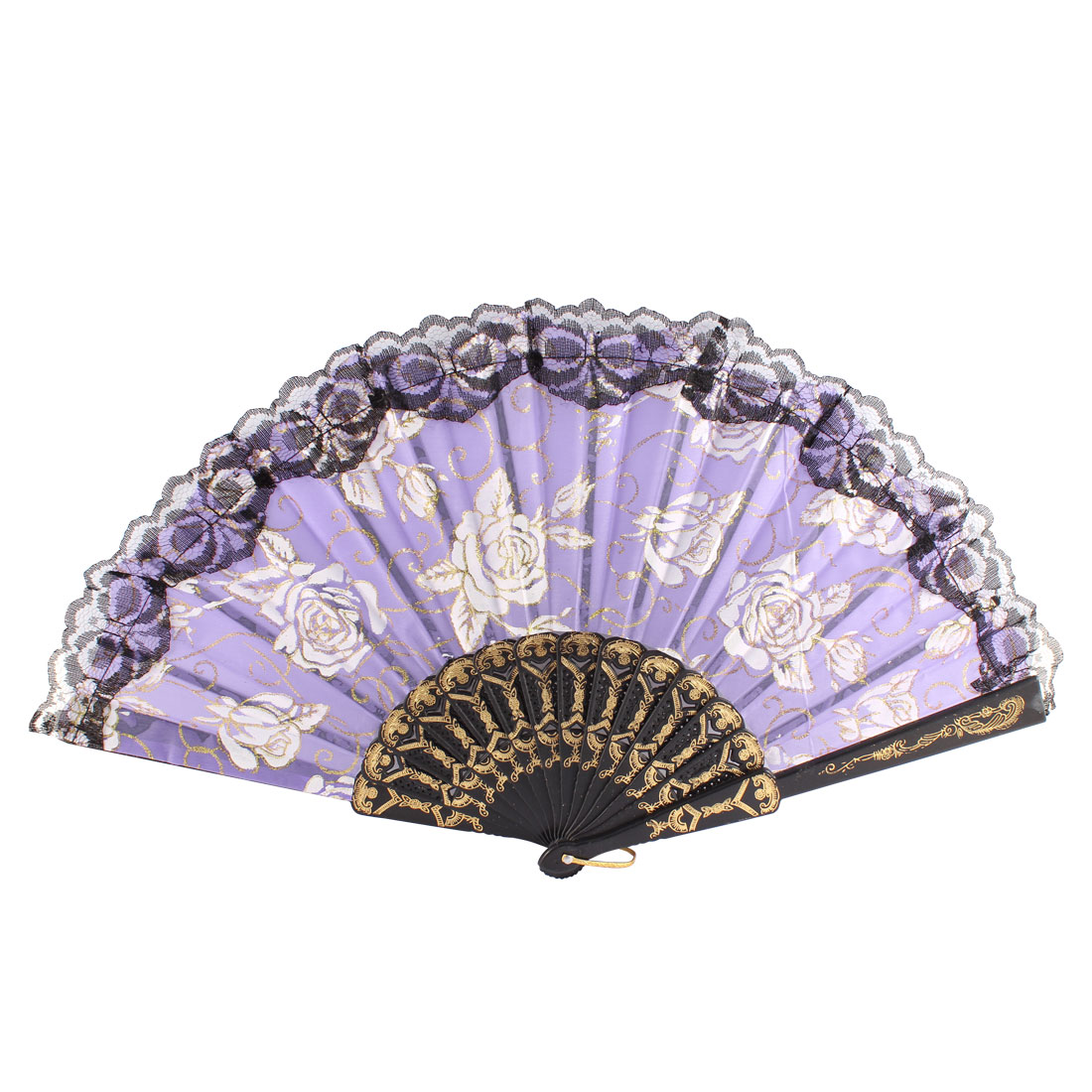Plastic Frame Rose Pattern Hollow Out Foldable Hand Fan Black Purple