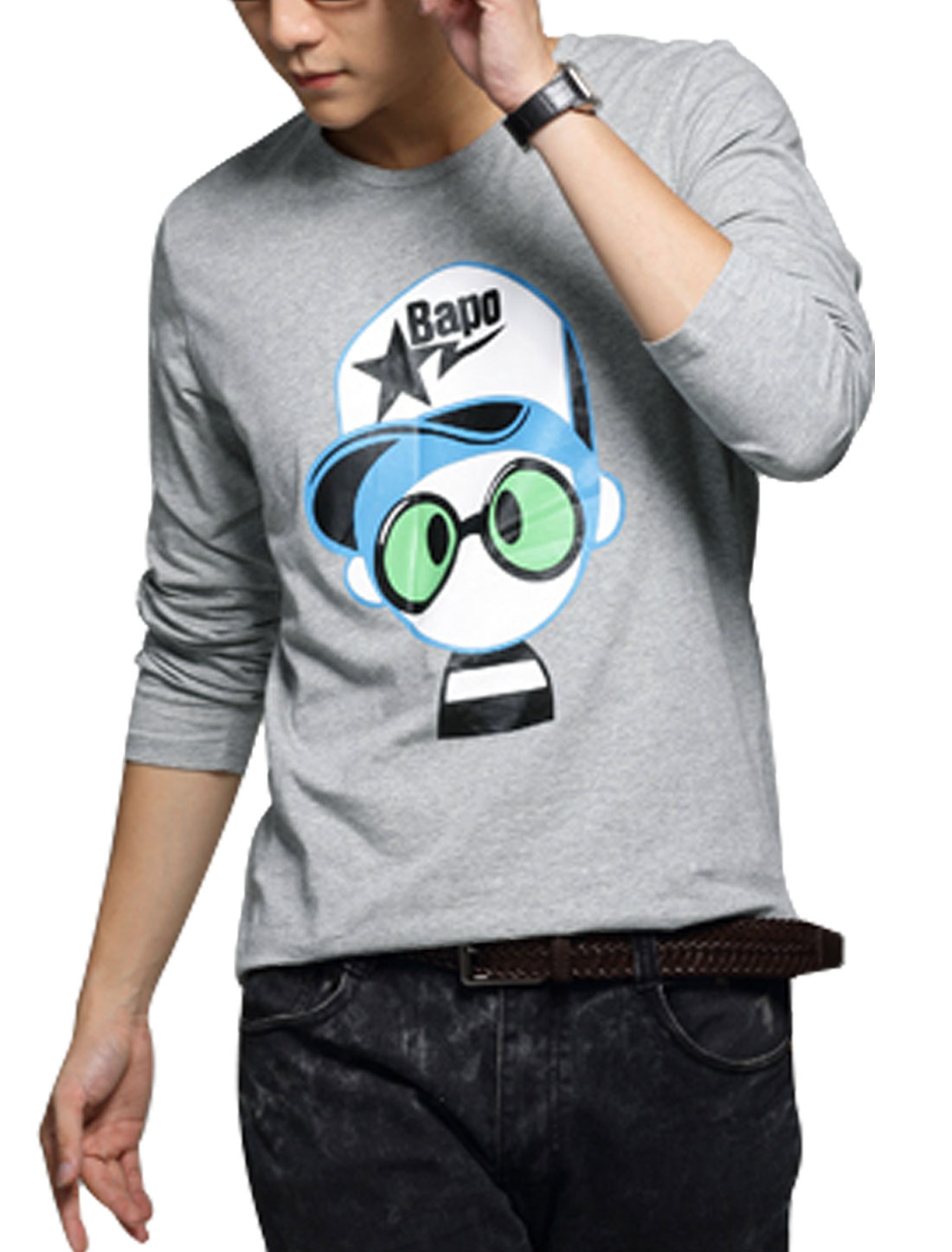 Men Round Neck Cartoon Prints Long Sleeves T-Shirts Gray M