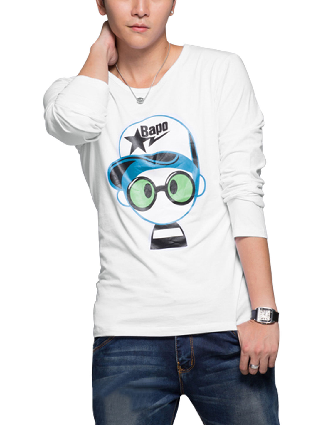 Men Long Sleeves Cartoon Prints Slipover T-Shirts White M