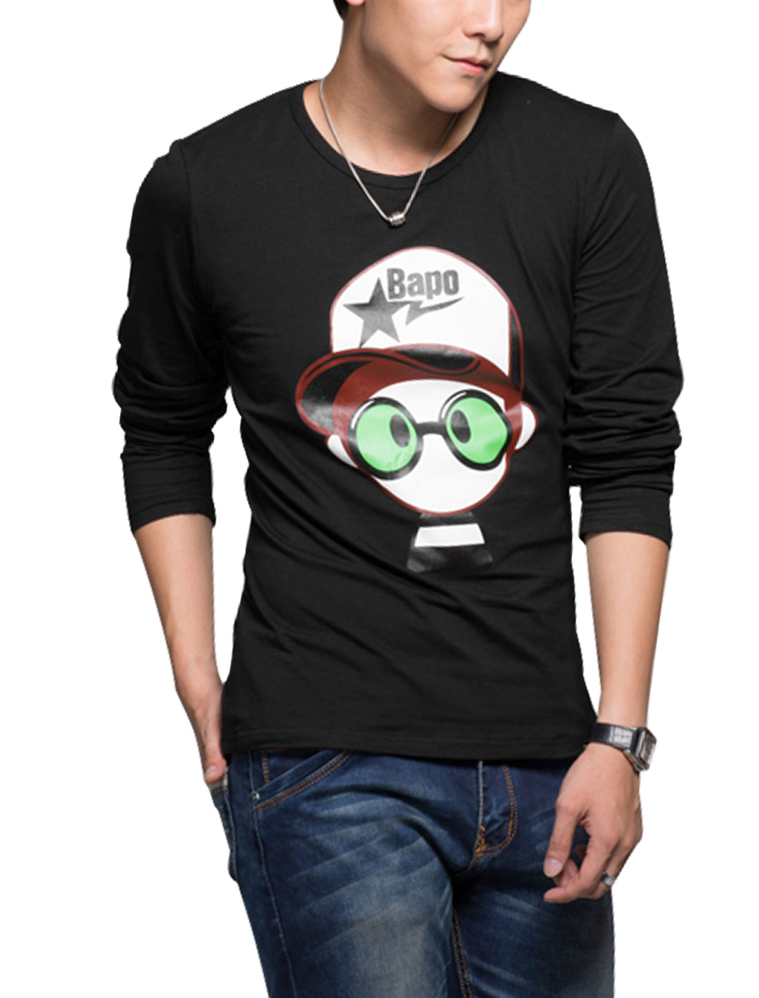 Man Long Sleeves Cartoon Prints Round Neck T-Shirt Black M