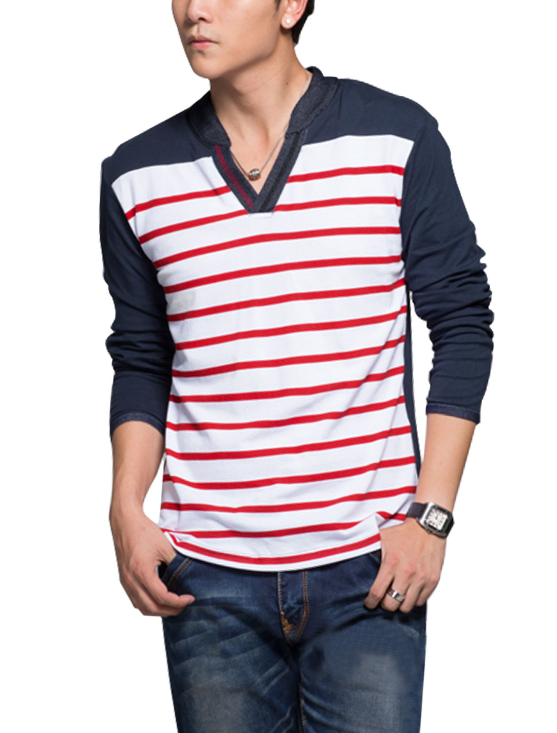 Men Stand Collar V Neckline Long Sleeves Casual Striped T-Shirts Red Navy Blue S