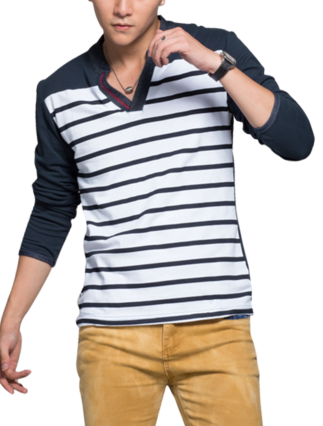 Man Stand Collar Long Sleeves Horizontal Stripes T-Shirts Navy Blue S