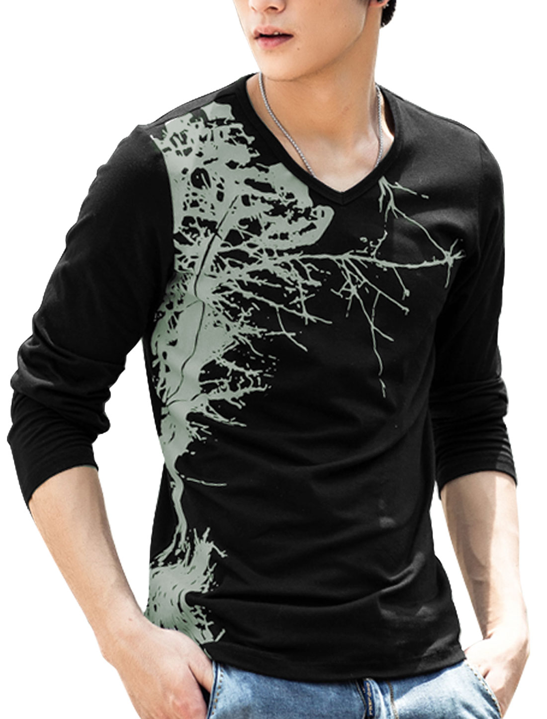 Man Plants Pattern V Neck Long Sleeves Leisure Tee Black M