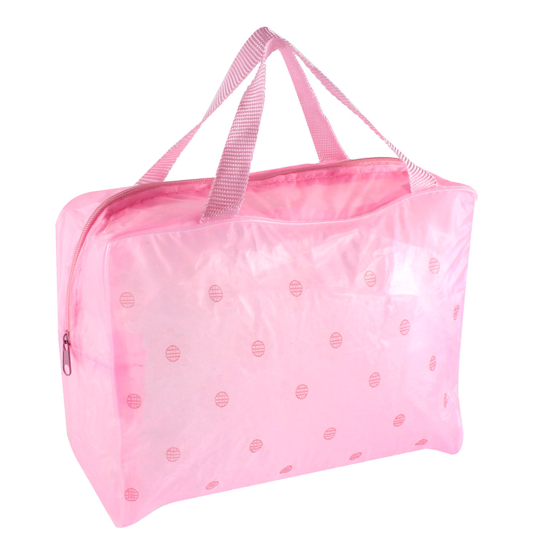 Travel Zipper Closure Floral Pattern Transparent Waterproof Makeup Bag Cosmetic Case Toiletry Storage Bathing Pouch Pink