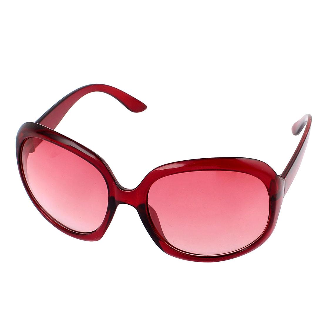 Woman Red Plastic Full Rim Gradient Square Lens Single Bridge Sunglasses Eyeswear Glasses Eyes Protector