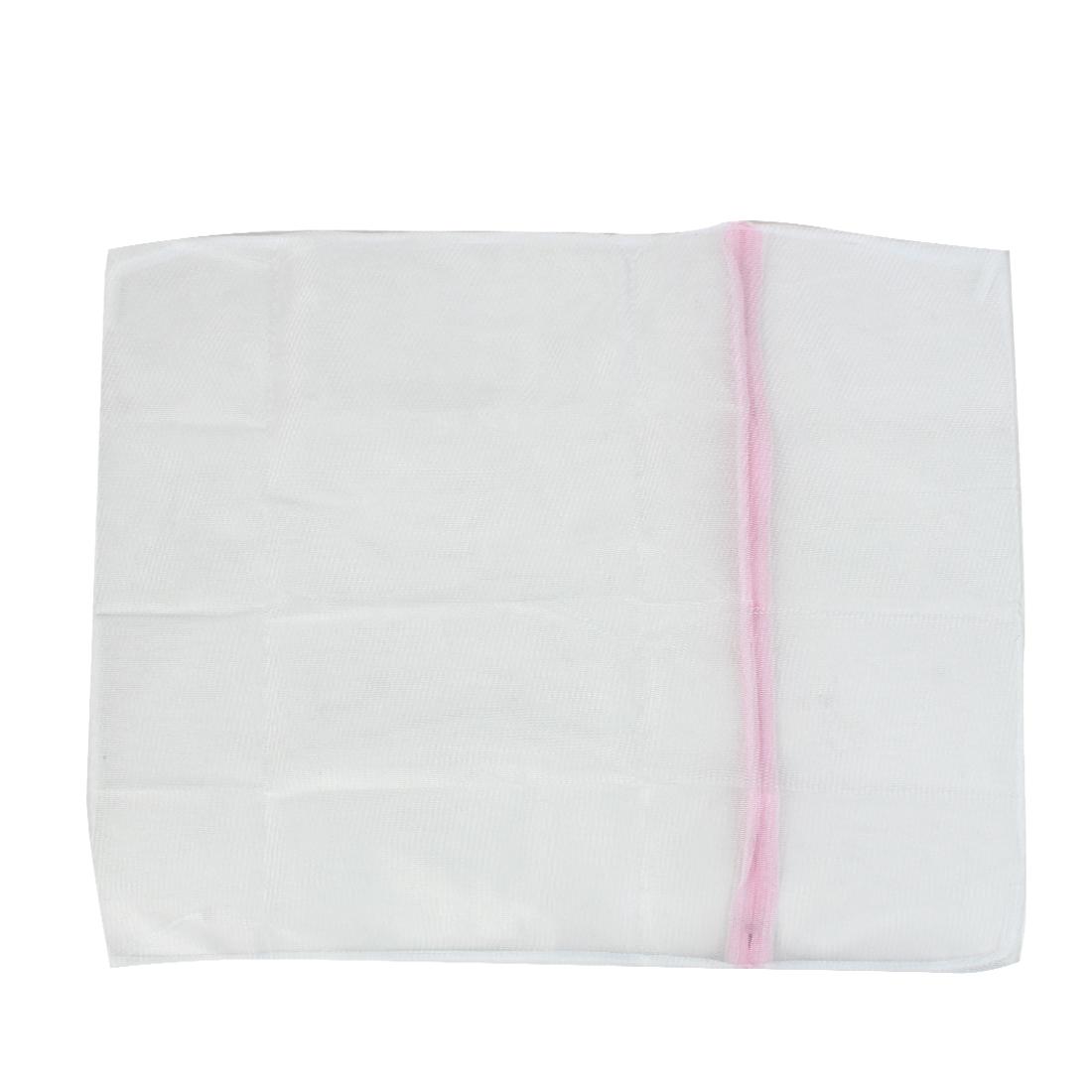 "Zipper White Nylon Mesh Wash Medium Sweaters Cloths Bras Underwear Protector Laundry Net Washing Bag 24"" x 24"""