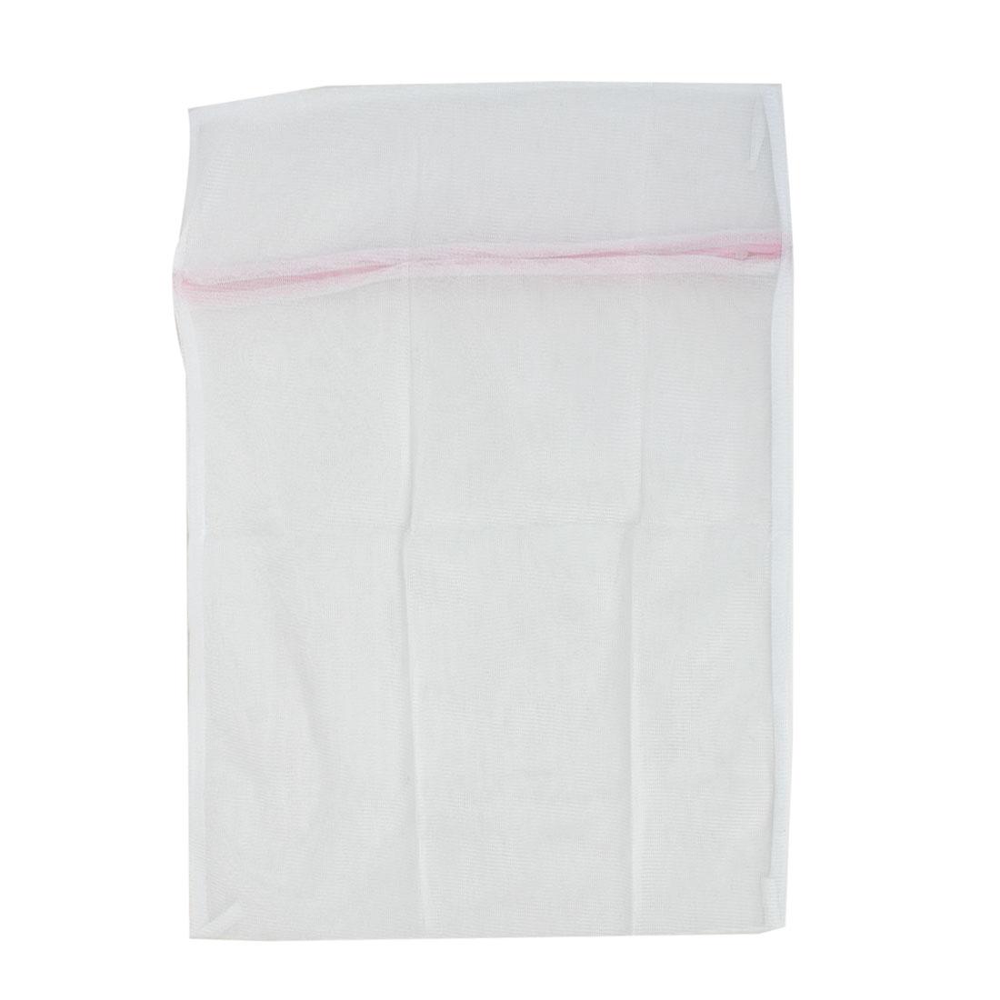 Zip Up White Nylon Mesh Wash Medium Cloths Bras Underwear Laundry Net Washing Bag 40 x 50cm