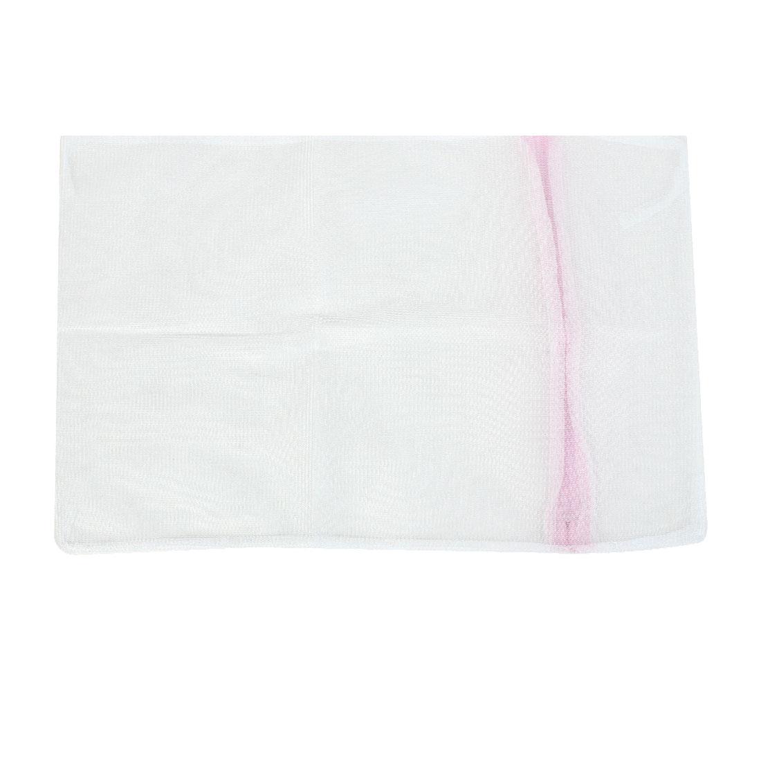 Zipped White Nylon Mesh Wash Medium Socks Cloths Underwear Laundry Net Washing Bag 30 x 40cm