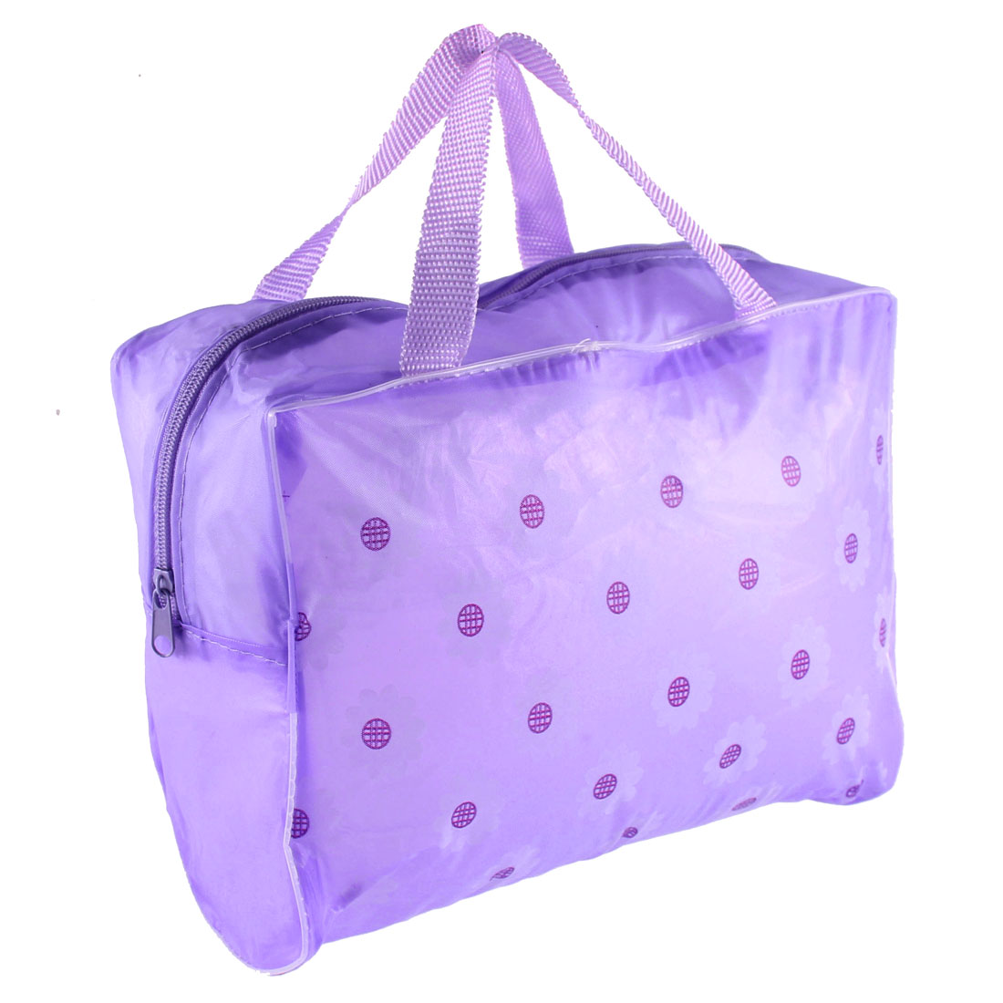 Travel Zipper Closure Floral Pattern Transparent Waterproof Makeup Bag Cosmetic Case Toiletry Storage Bathing Pouch Purple