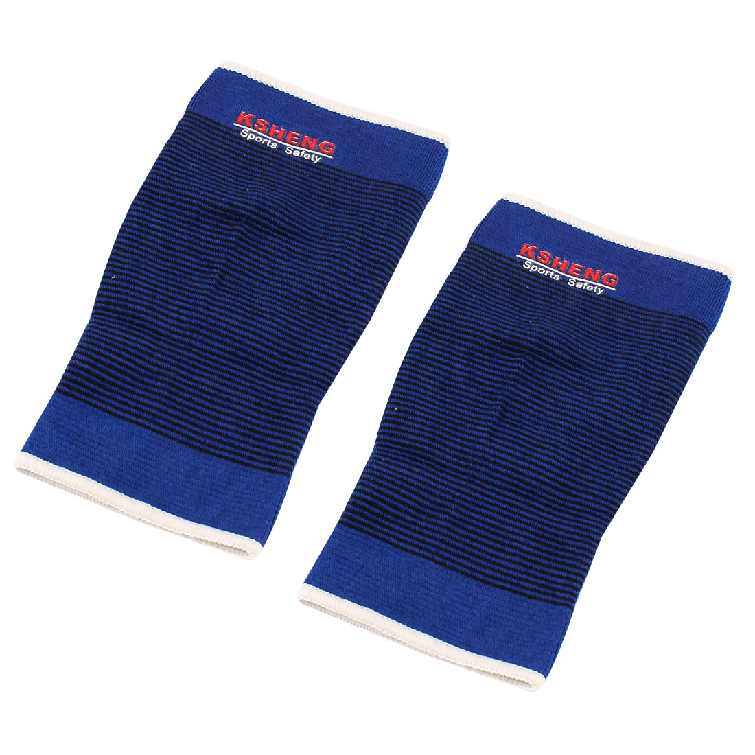 Basketball Football Sports Black Blue Stripes Elastic Hand Arms Elbow Supports Protectors Guards 2pcs
