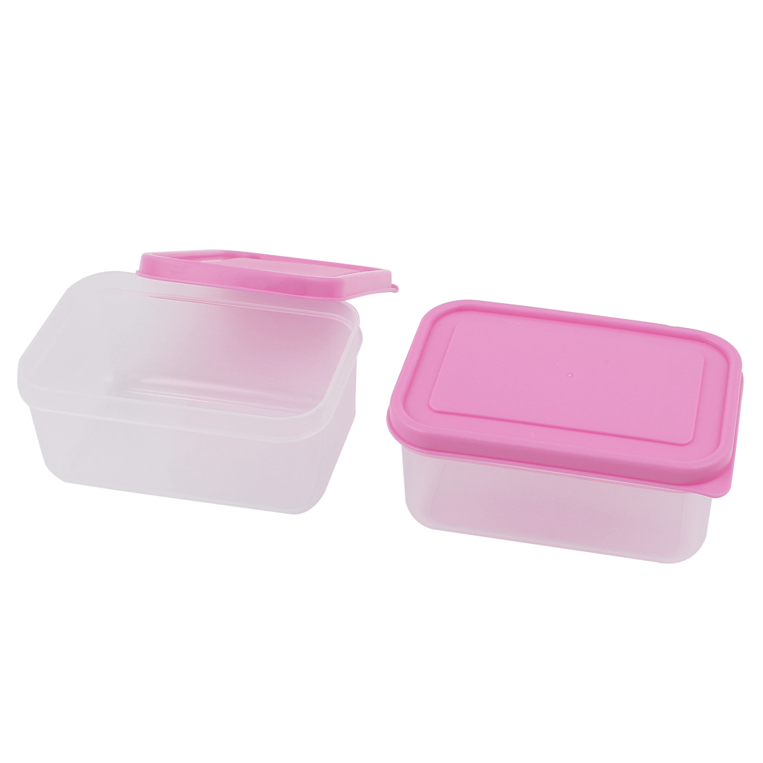 2pcs 300mL Capacity Pink Lid Clear PP Vacuum Bento Crisper Food Storage Box Lunch Case Container