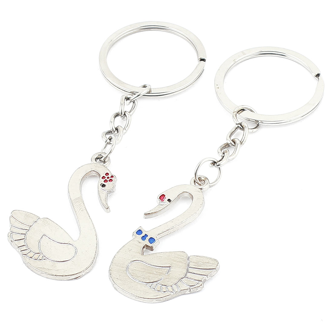 Lover Silver Tone Metal Swan Pendant Keyring Keychain Key Ring Chain Bag Ornament 9cm Long Pair