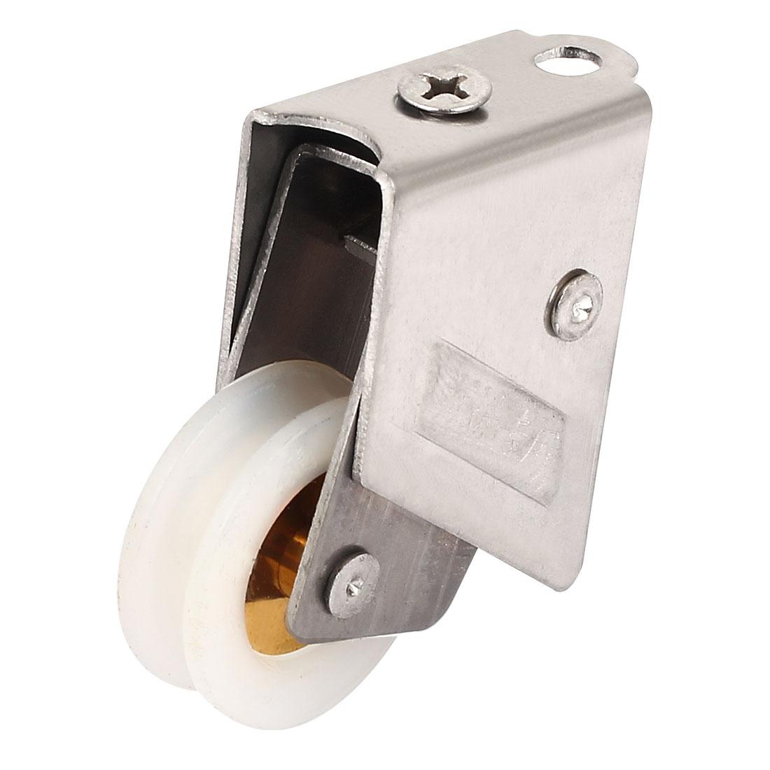 30mm Dia Double Nylon Roller Stainless Steel Bracket Sliding Door Window Pulley Wheel