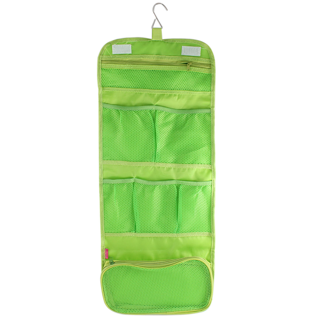 Outdoor Travel Green Nylon Makeup Cosmetic Pouch Case Toiletry Storage Bag Organizer w Hanging Hook
