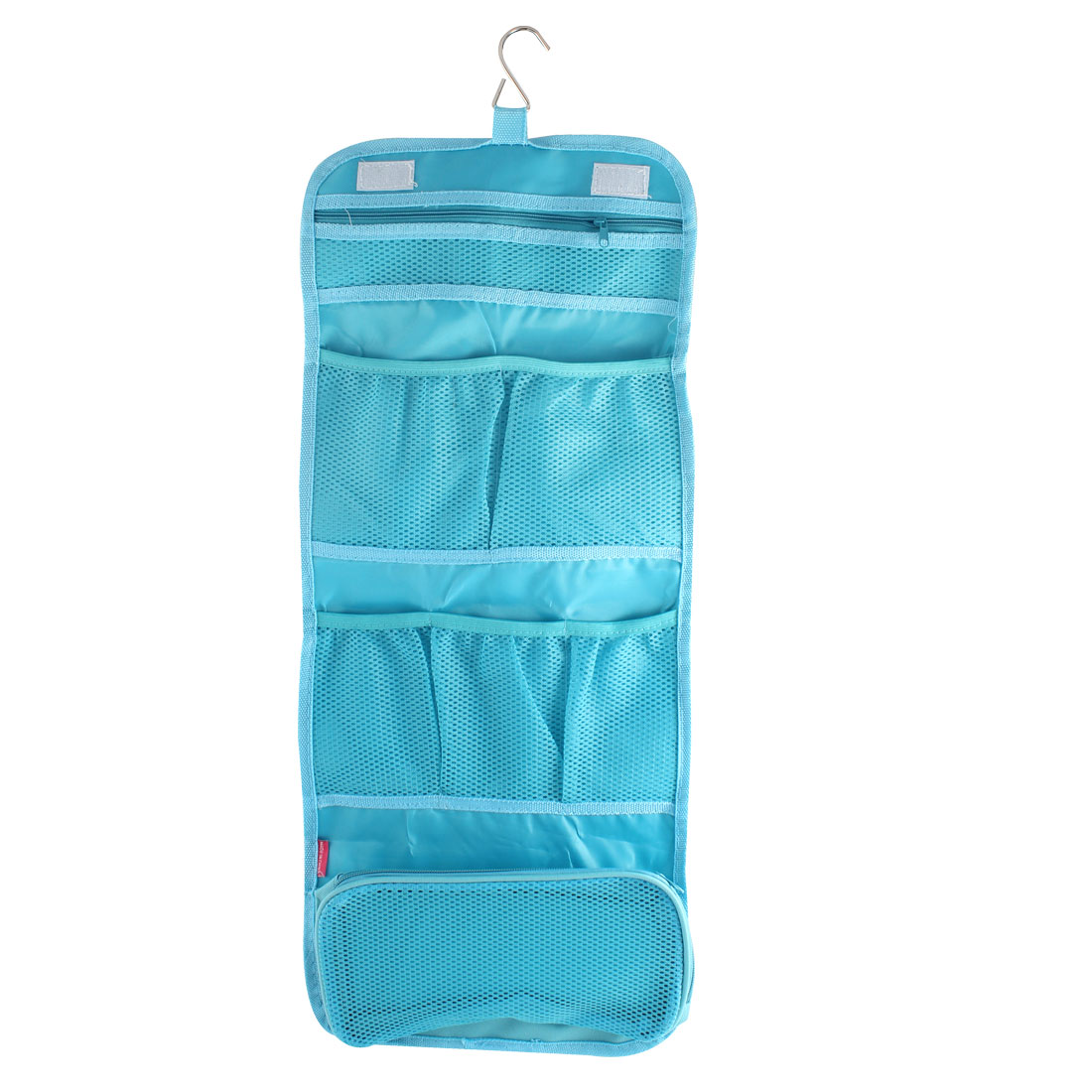 Outdoor Travel Blue Nylon Makeup Cosmetic Pouch Case Toiletry Storage Bag Organizer w Hanging Hook