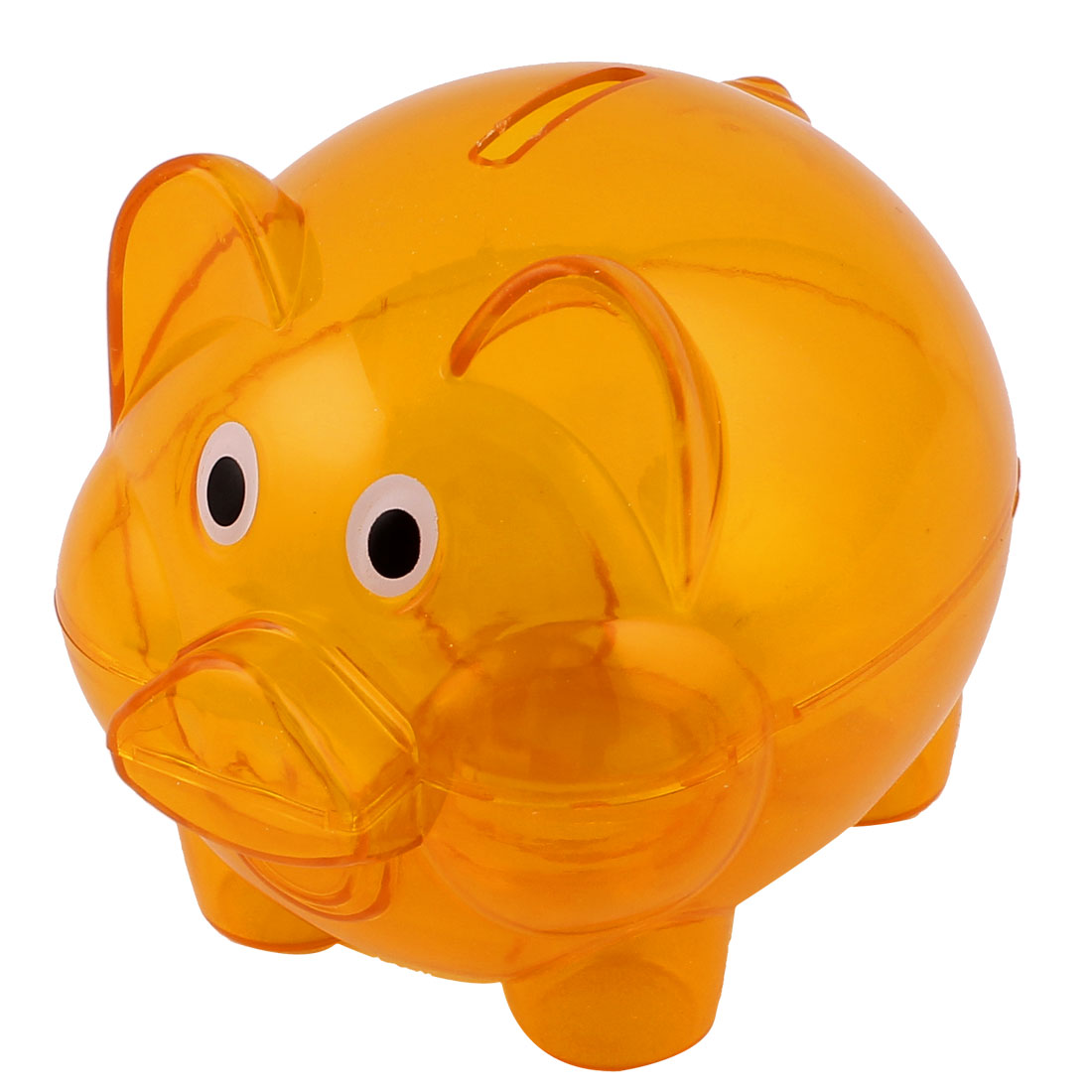 Clear Orange Plastic Piggy Bank Coin Money Cash Saver Collectible Savings Pig Toy Safe Box
