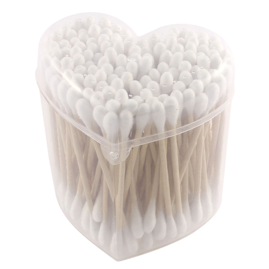 130pcs Wood Rod Double Head Cotton Swab Bud Ear Picks Applicators Cosmetics Removing Tool w Heart Shaped Case