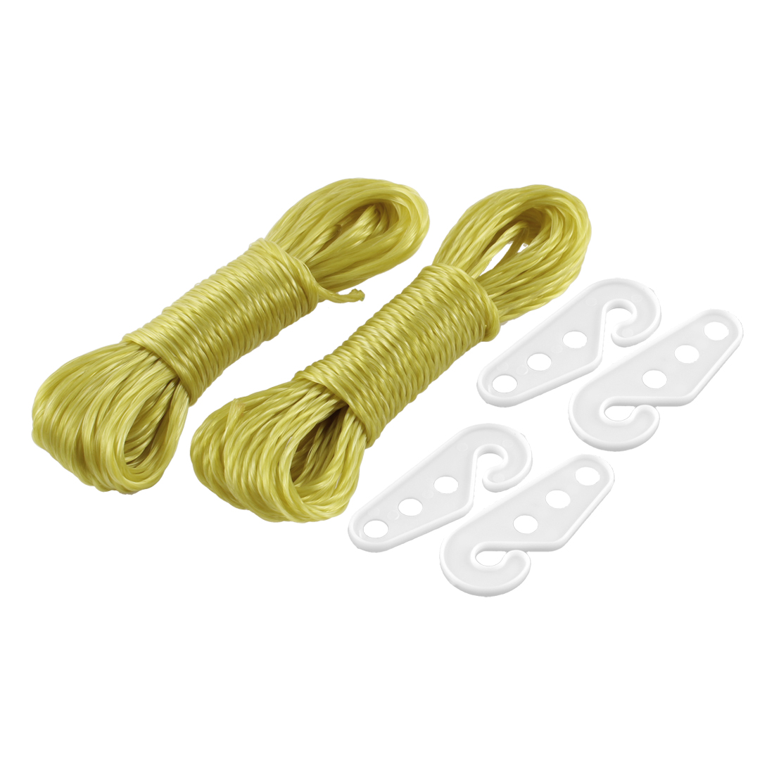 Home Outdoor Plastic Multipurpose Clothesline Yellow 33ft 2 Pcs