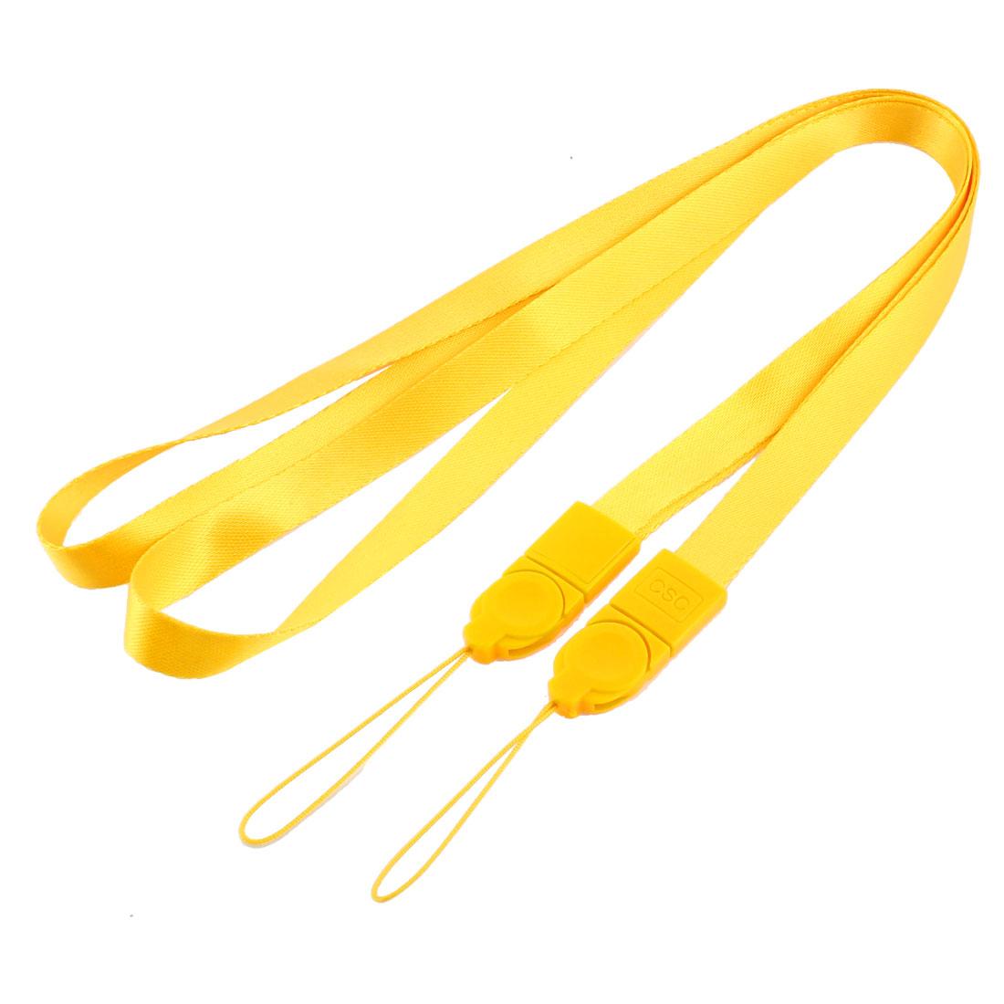 Nylon Detachable Lanyard Badge Holder ID Card Neck Strap 2 Pcs Yellow