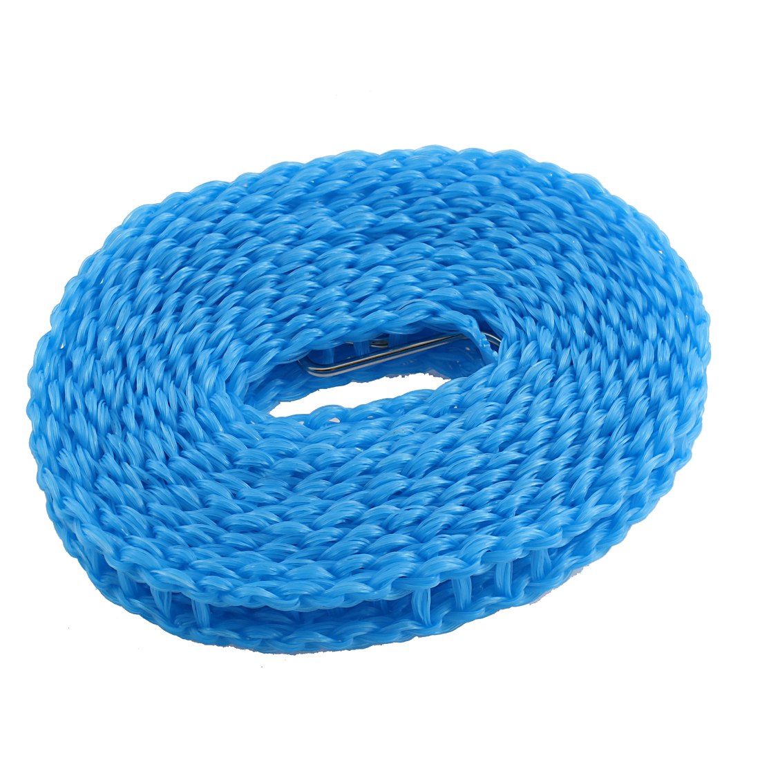Home Plastic Stockade Style Metal Hook Detail Barrier Clothesline Blue
