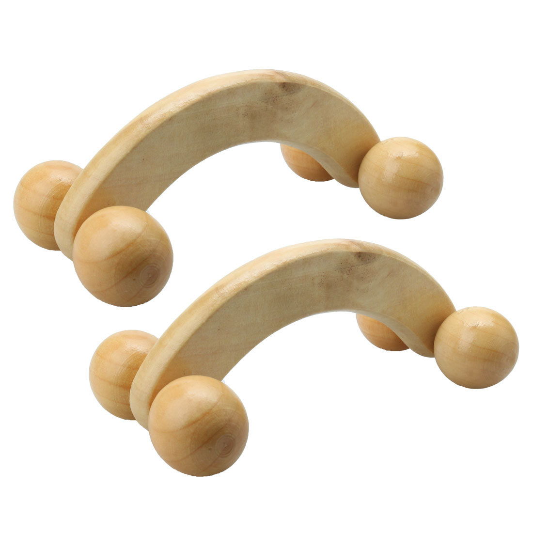 Antislip Handheld Yellow 4 Wheels Wooden Body Massage Roller 2 Pcs