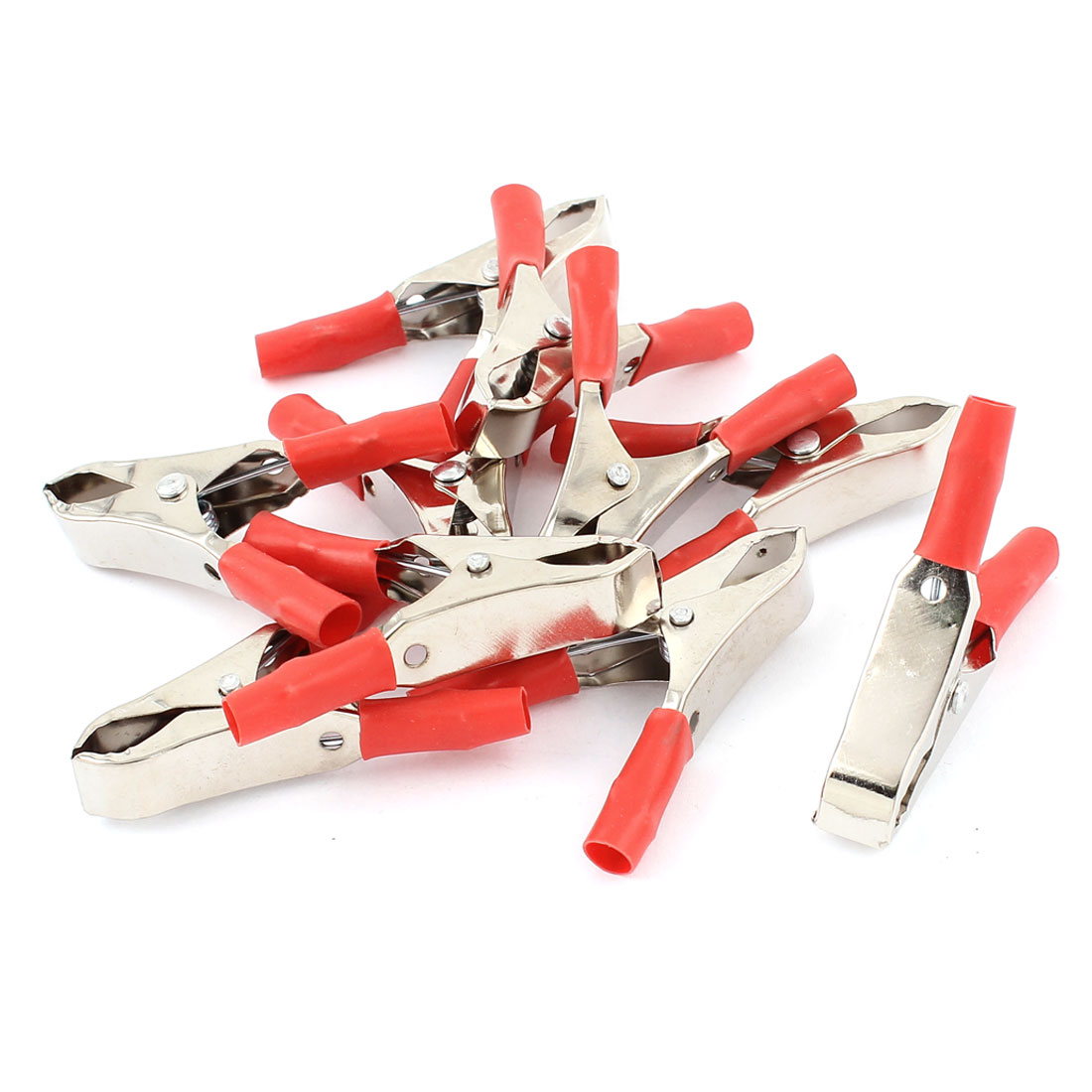 10 Pcs Red Car Battery Test Alligator Clip Clamp Connector 30A