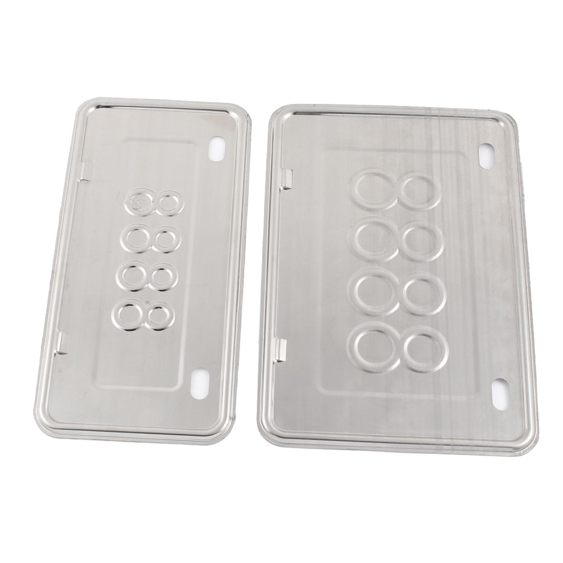 2 in 1 Silver Tone Glossy Metal Motorcycle License Plate Holder Set
