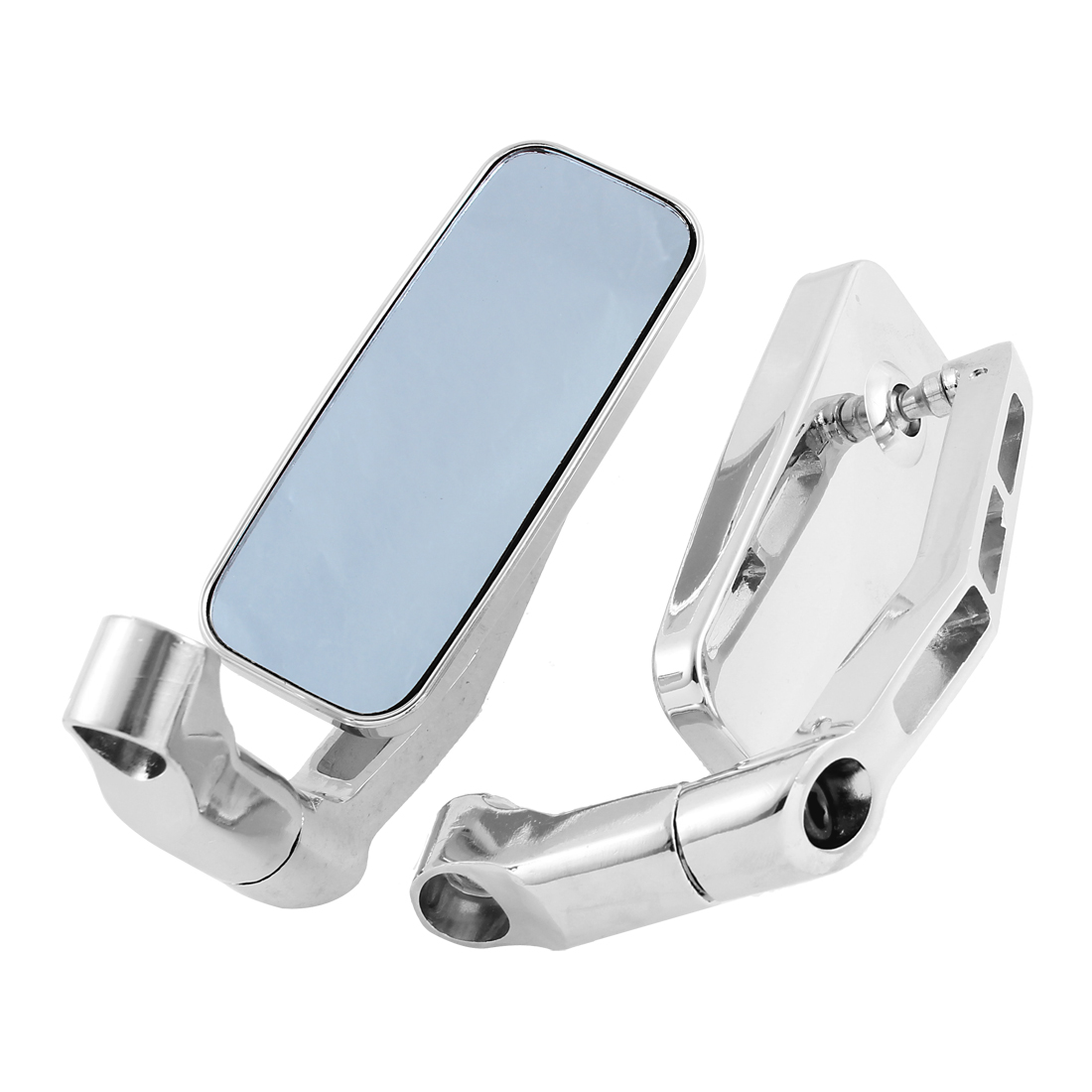 2 Pcs Silver Tone Plastic Shell Motorcycle Side Rearview Blind Spot Mirror
