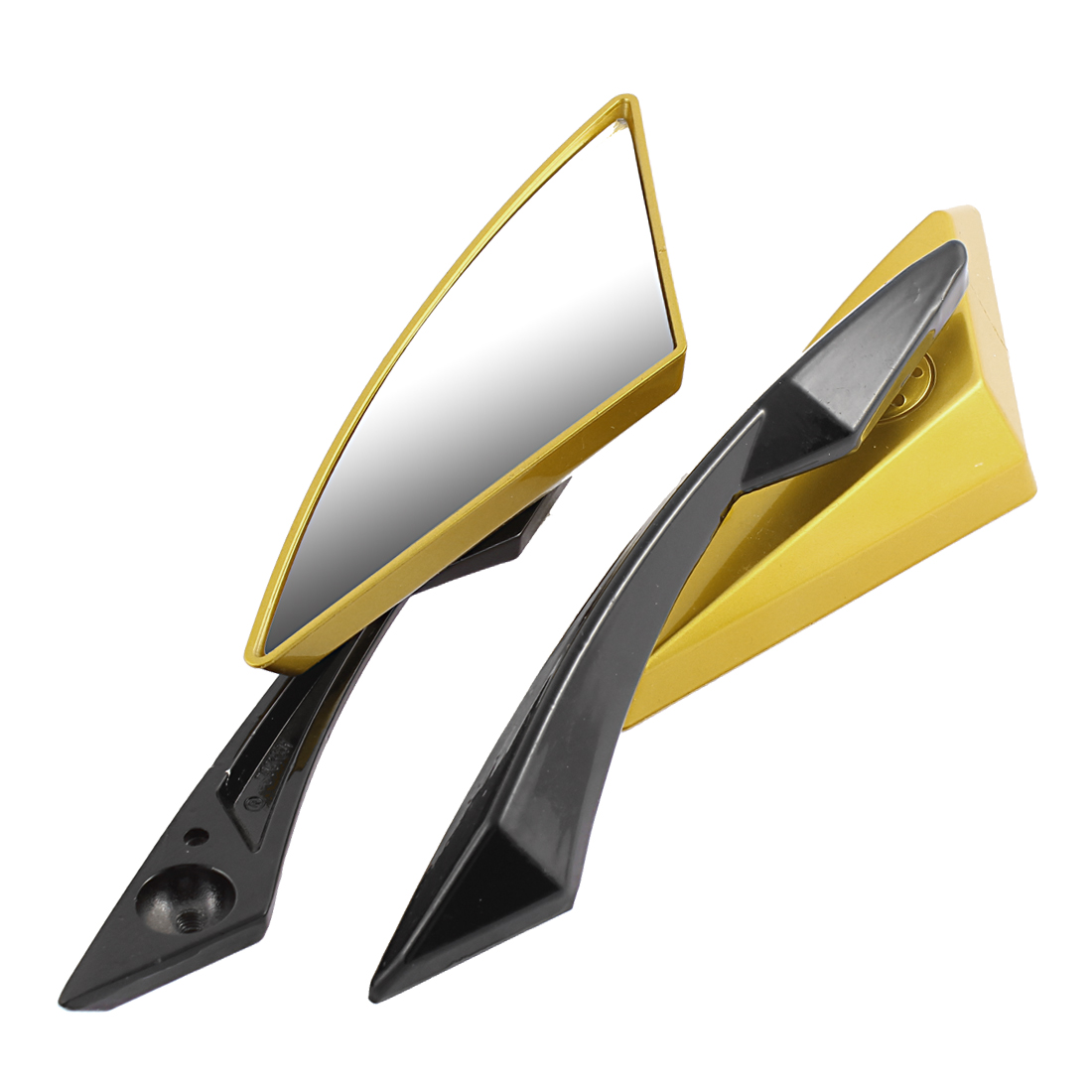 2 Pcs Gold Tone Motorcycle Adjustable Angle Rearview Blind Spot Mirrors for Halley