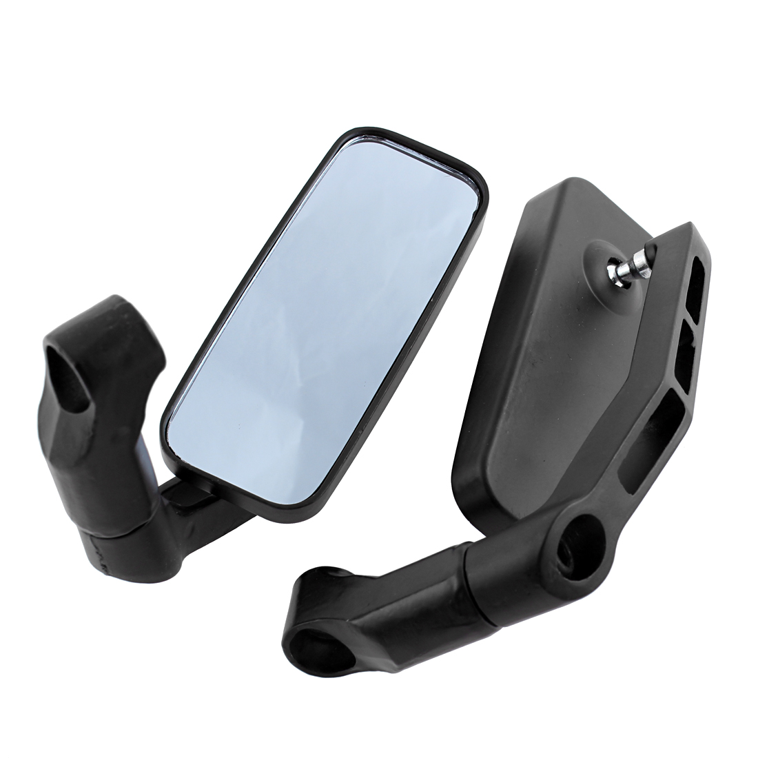 Pair Black Aluminum Casing Motorcycle Side Rearview Blind Spot Blue Mirror
