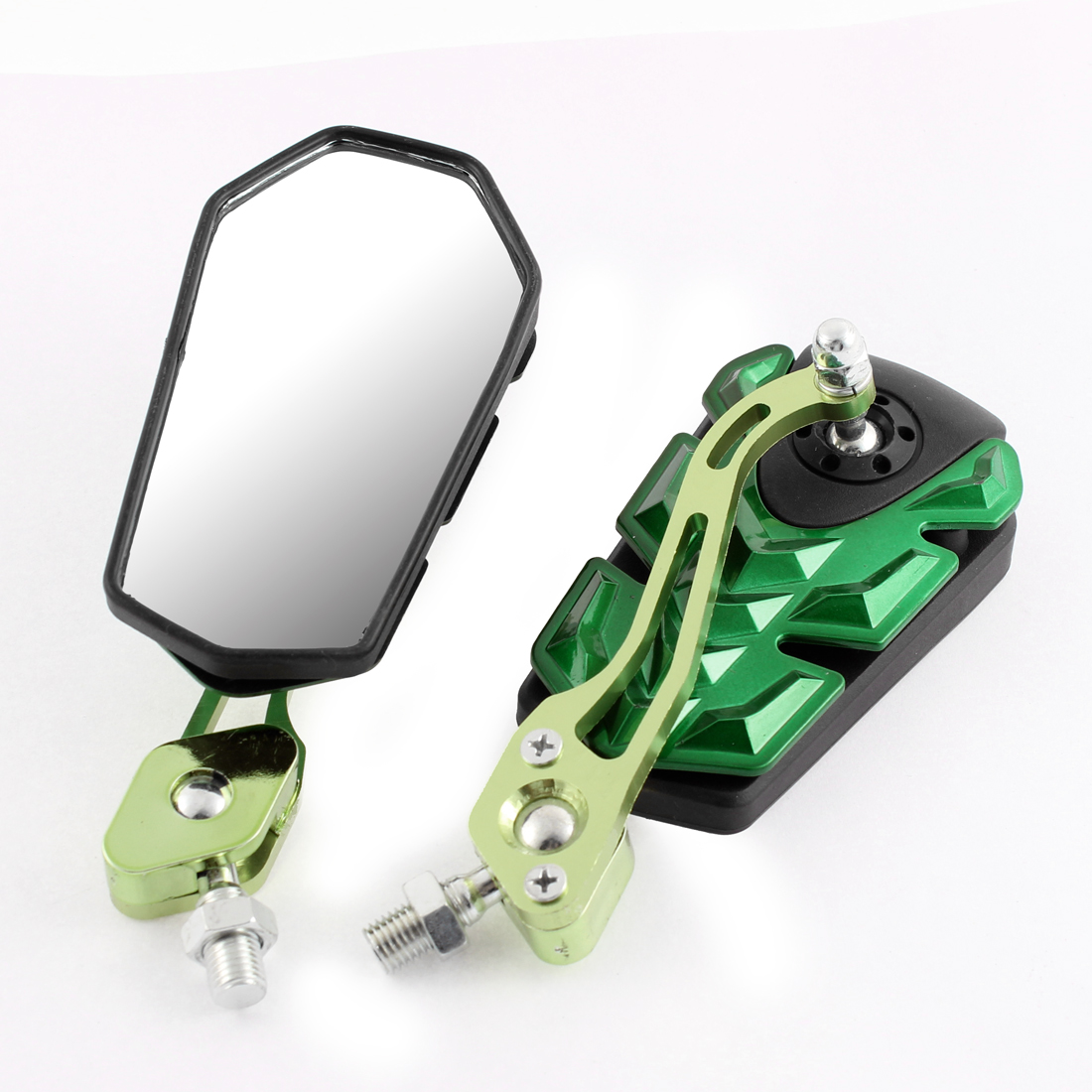 2 Pcs Green Adjustable Motorbike Side Rearview Blind Spot Mirrors