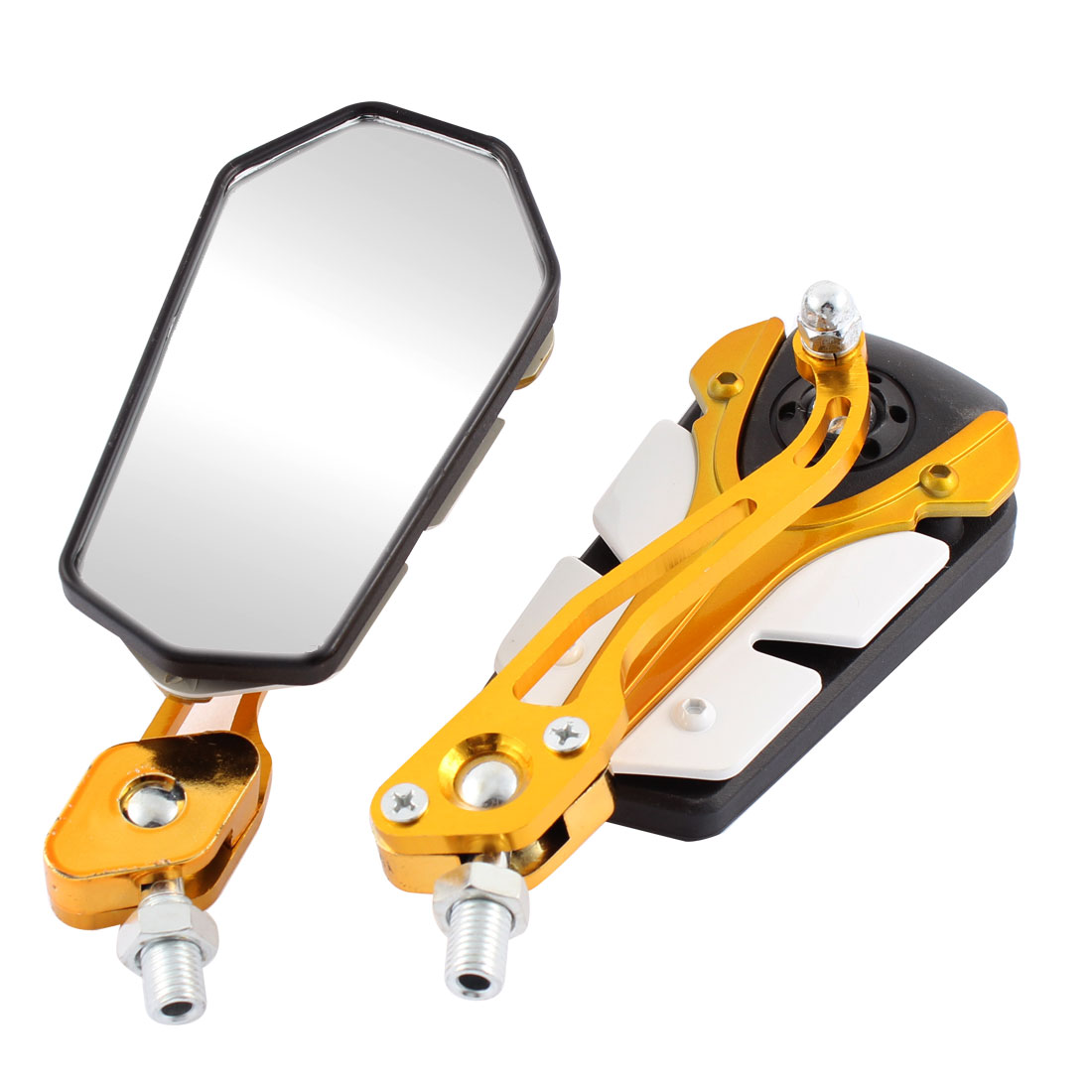 2 Pcs Gold Tone Motorbike Wide Angle Blind Spot Rearview Mirror