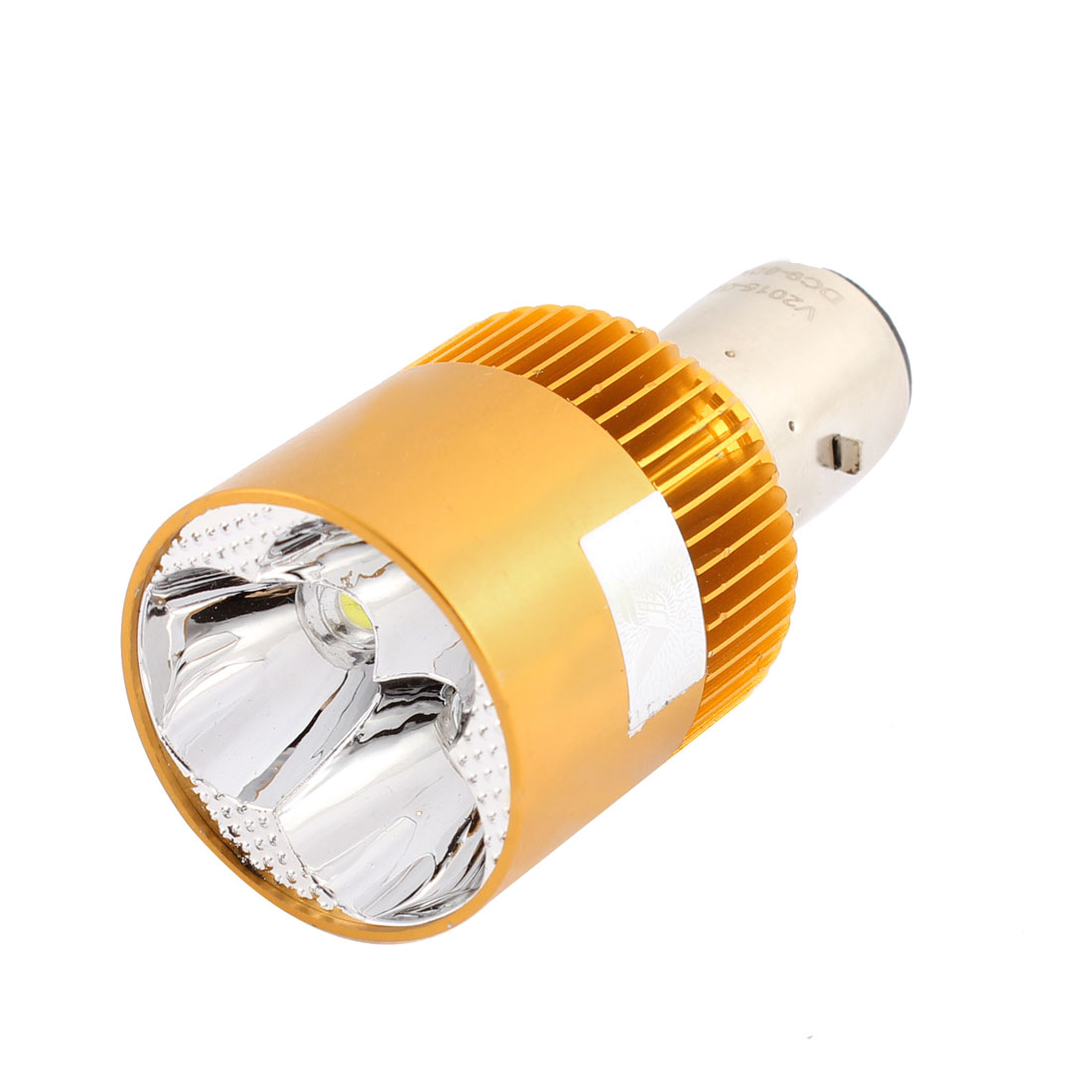 Motorcycle Gold Tone Metal Shell 3 White LED Decorative Light Lamp