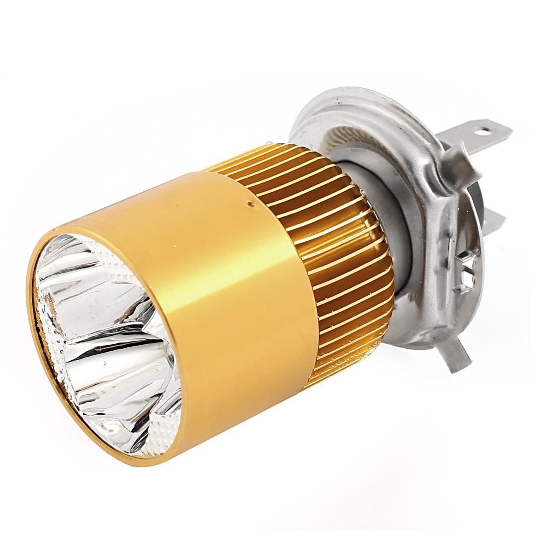 DC 9V-80V 8W Motorcycle Gold Tone Shell H4 White 3 LED Indicator Headlight Fog Lamp