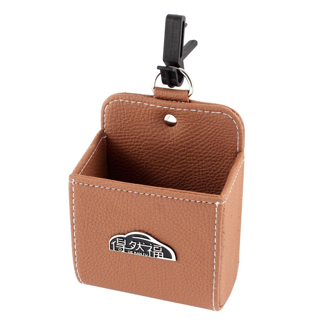 Faux Leather Rectangle Shape Non-slip Car Auto Air Vent Phone Holder Pouch Orange