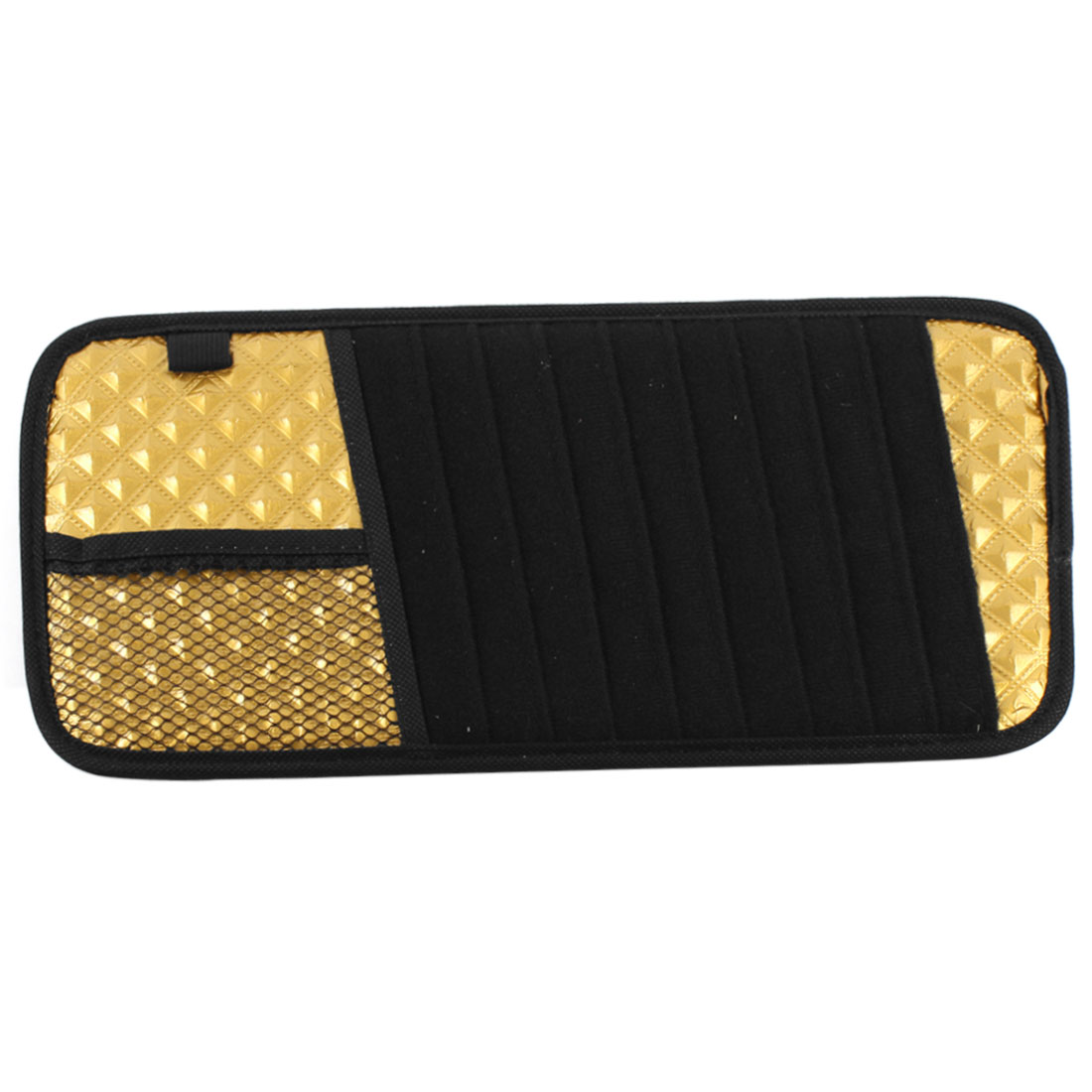 10 Slots Visor CD DVD Disk Bag Holder Organizer Pocket Golden Tone Black for Car