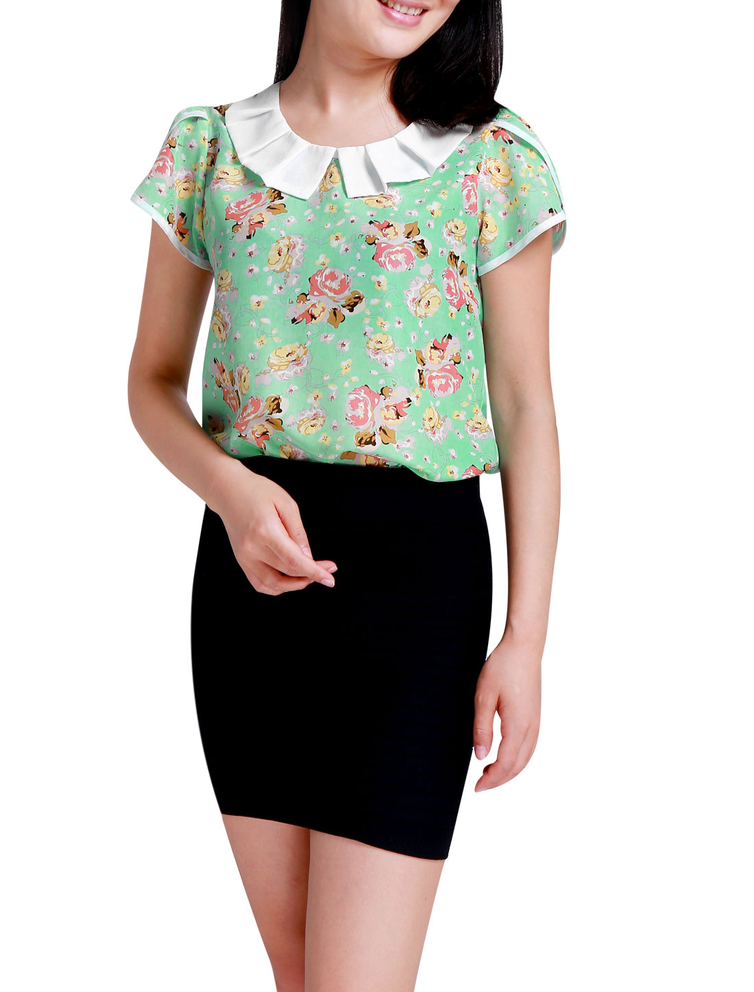 Women Peter Pan Collar Floral Print Chiffon Shirt Mint Pink M