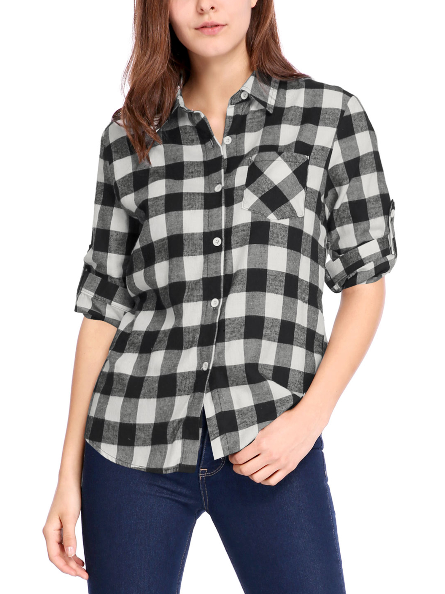 Ladies Button Down Long Sleeve Pocket Plaid Shirts White Black XL