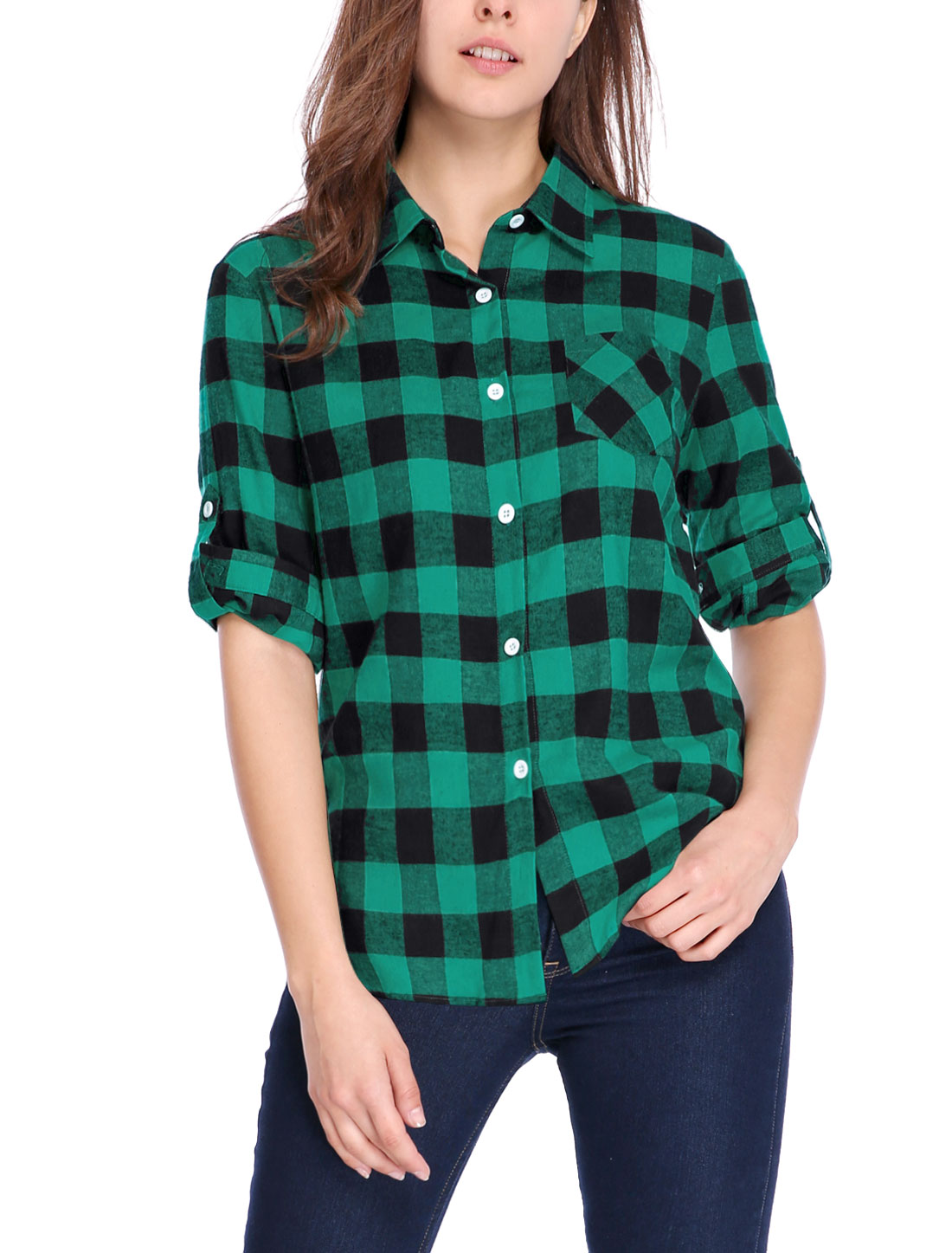 Women Button Down Roll Up Sleeve Pocket Plaids Shirt Green Black XL